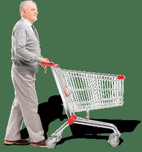 opa met winkelkar